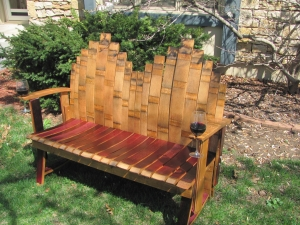 """Wolverine"" ~ Custom Made Wine Stave Bench"